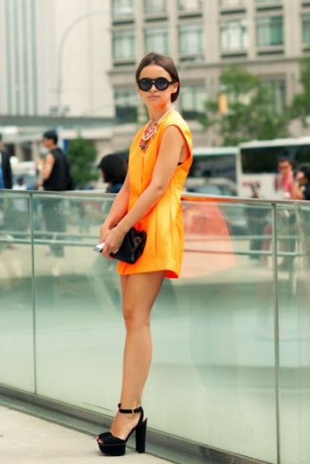 Miroslava Duma new york fashion week ss12 orange blazer